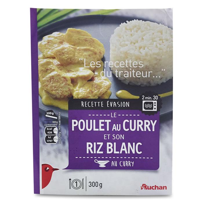 Poulet au Curry et Riz blanc,AUCHAN,300 g