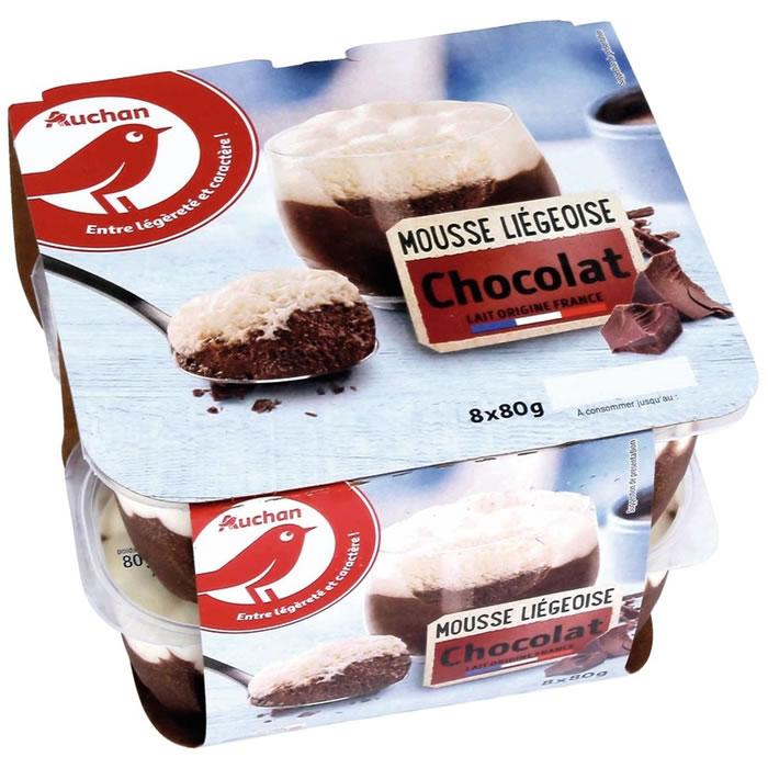 Mousses liégeoises au Chocolat,AUCHAN,8 x 80 g